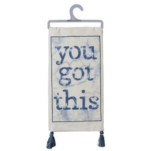 You Got This w/Tassel Dish Towel in White and Blue